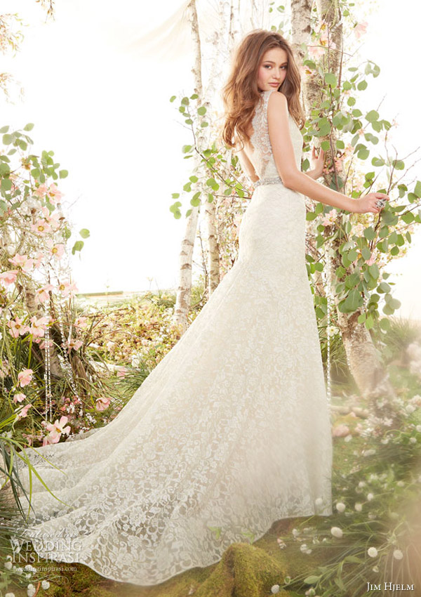 jim hjelm spring 2014 sleeveless lace fit and flare gown style jh8402