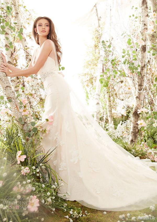 jim hjelm spring 2014 sleeveless wedding dress sheer draped tulle bodice straps style jh8413