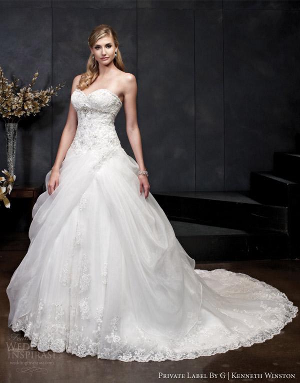 vestidos de noiva Kenneth Winston primavera 2014 de baile sem alças vestido estilo 1548
