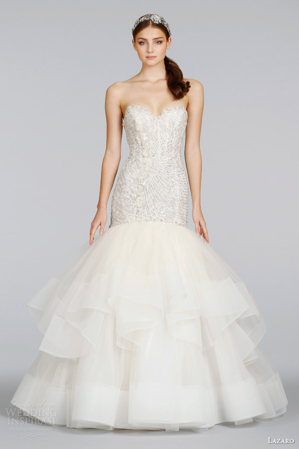 lazaro 2014 bridal champagne beaded embroidered strapless fit flare wedding dress style 3410