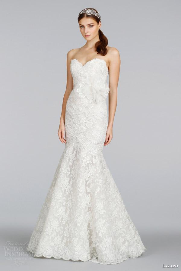 lazaro bridal 2014 ivory silver alencon lace strapless gown style 3412