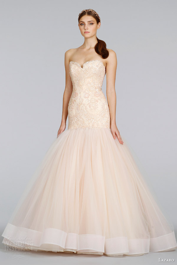 lazaro bridal spring 2014 blush wedding dress style 3402