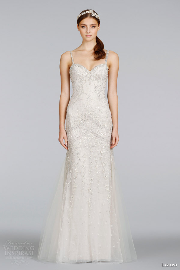 lazaro bridal spring 2014 champagne beaded wedding dress with straps style lz 3405