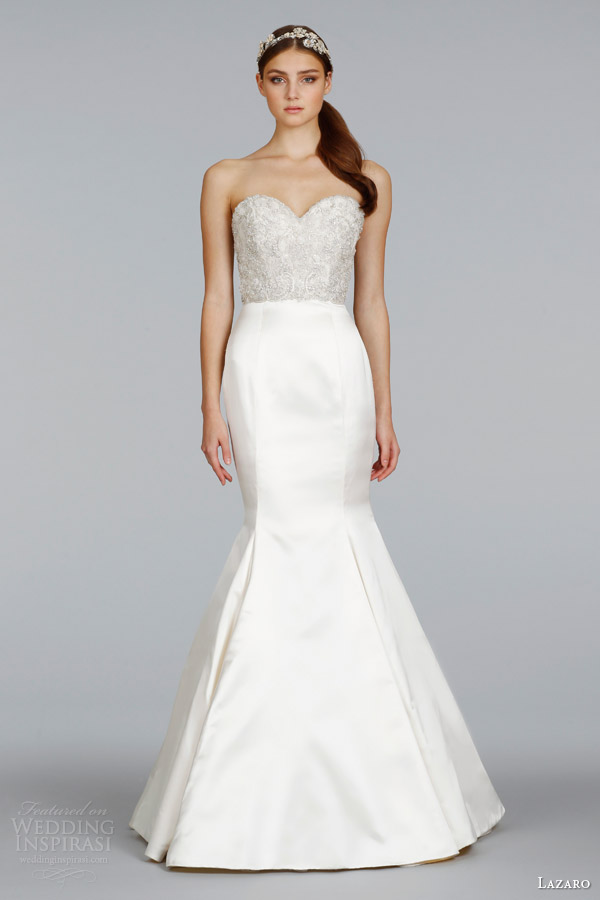lazaro bridal spring 2014 strapless trumpet gown beaded bodice style lz 3404
