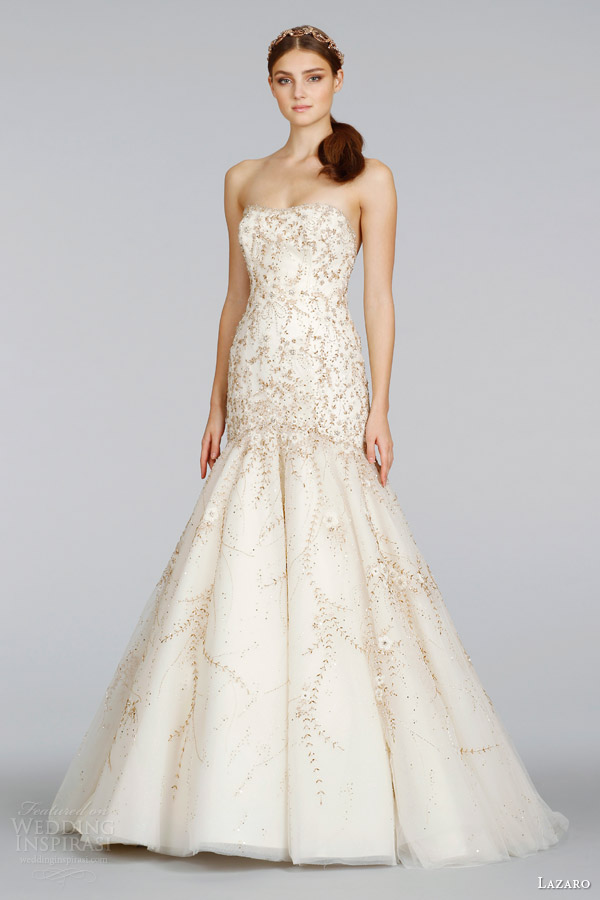 lazaro spring 2014 bridal strapless fit and flare gold wedding dress style lz 3409