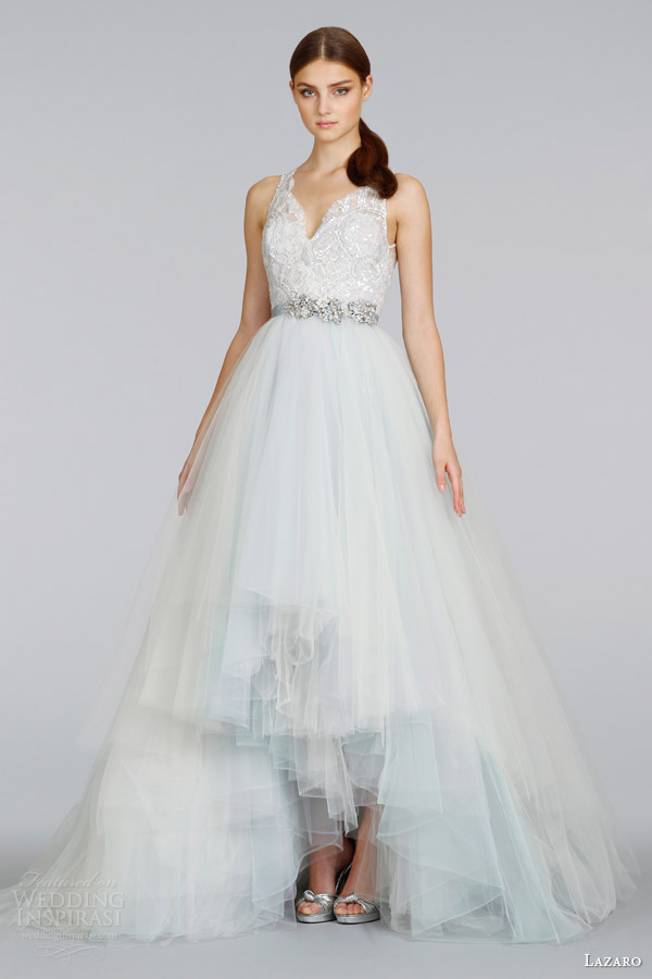 lazaro spring 2014 color wedding dress high low skirt wisteria peony ivory style lz 3414