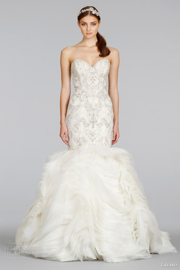 lazaro spring 2014 wedding dress style 3400 strapless beaded gown