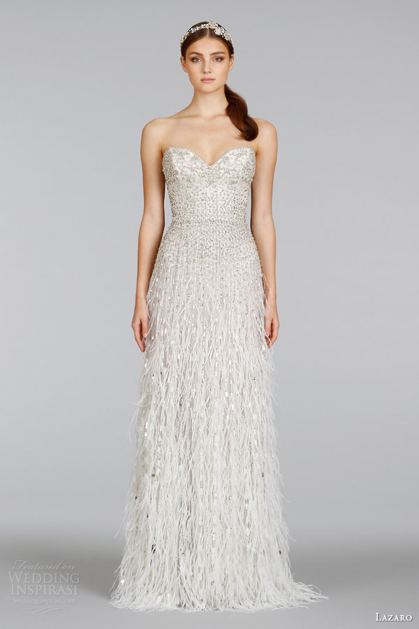 lazaro spring 2014 wedding dress style 3401 strapless beaded gown