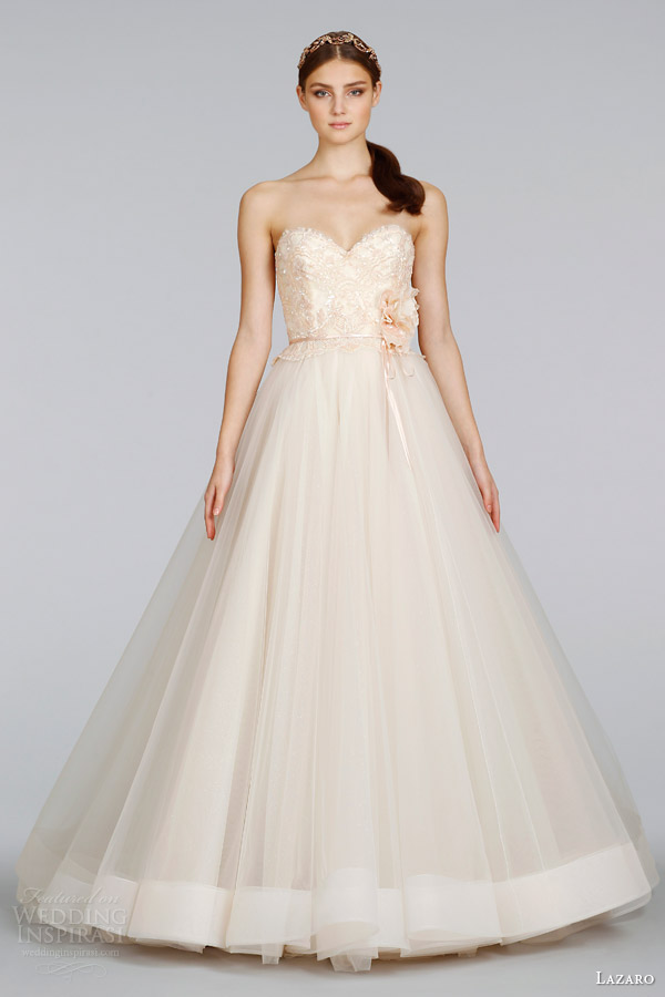 lazaro wedding dresses spring 2014 blush strapless tulle ball gown style 3403