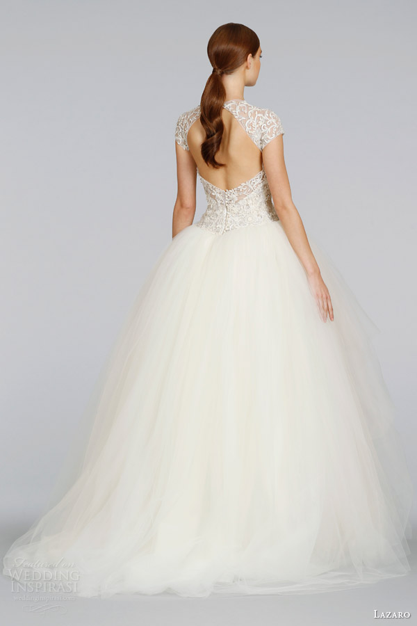 lazaro wedding dresses spring 2014 cap sleeve tulle ball gown style lz 3407 keyhole back sweep train