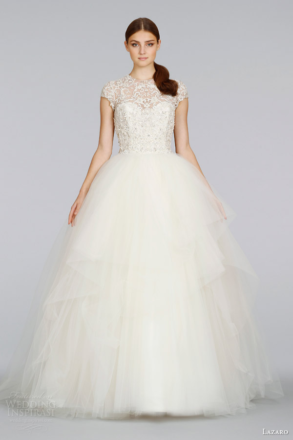 lazaro wedding dresses spring 2014 cap sleeve tulle ball gown style lz 3407