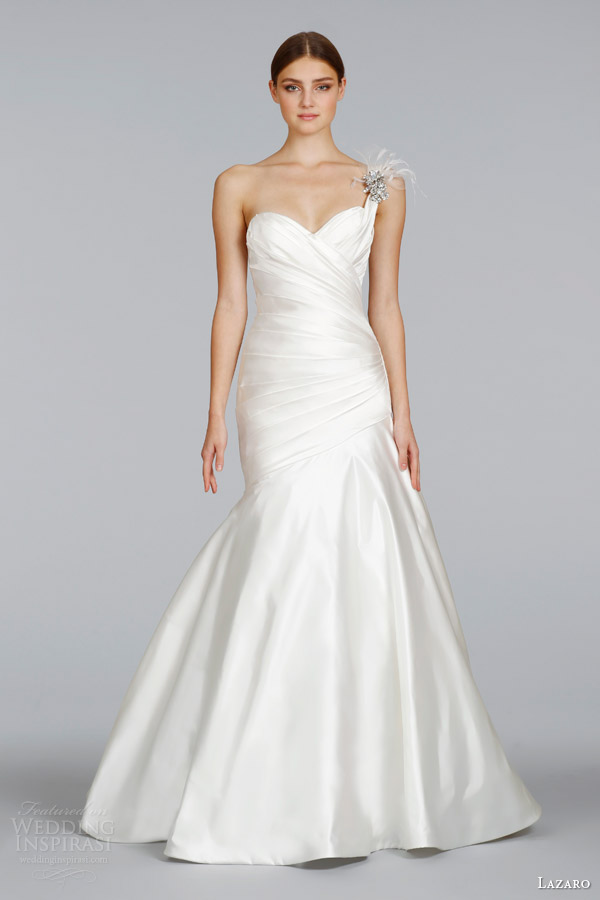 lazaro wedding dresses spring 2014 one shoulder fit flare gown style lz 3408 maria elena brooch with feather