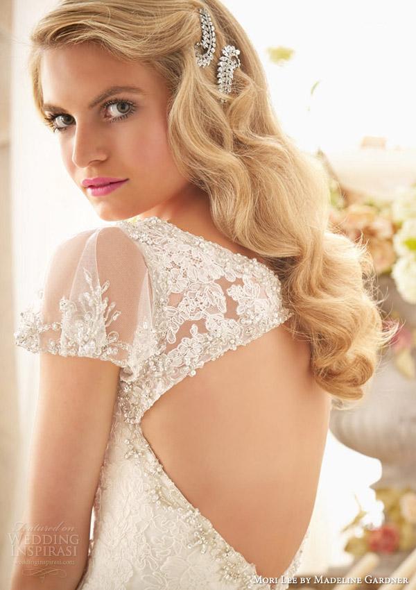 mori lee by madeline gardner bridal spring 2014 wedding dress with flutter sleeves style 2613 close up keyhole back
