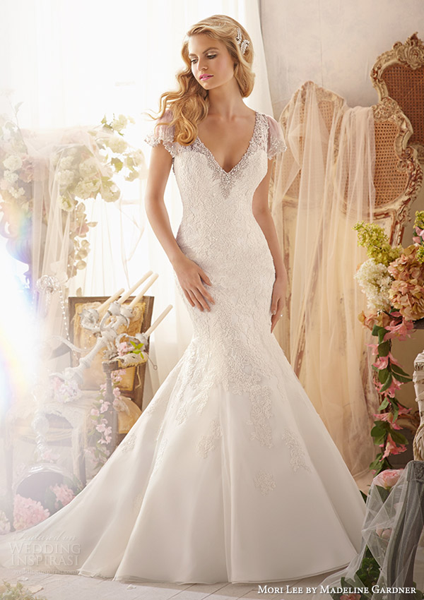 mori lee by madeline gardner bridal spring 2014 wedding dress with flutter sleeves style 2613