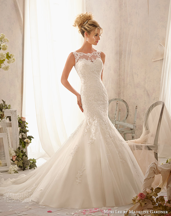 mori lee by madeline gardner spring 2014 wedding dress with illusion neckline style 2610