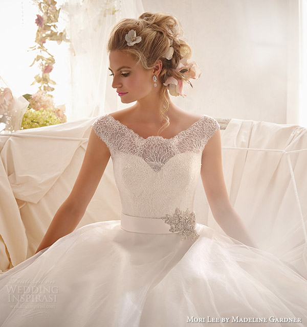 mori lee by madeline gardner wedding dresses 2014 cap sleeve gown wide hemline style 2607 close up bodice