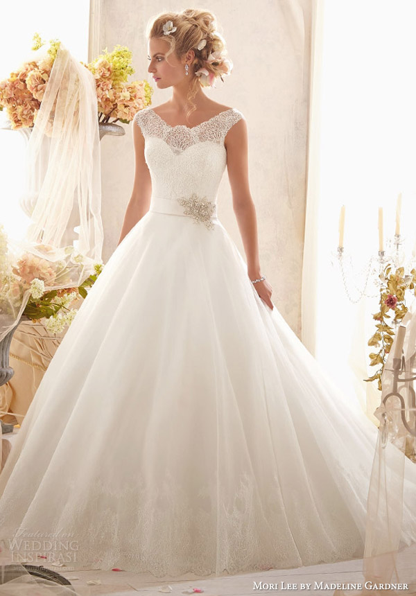 mori lee by madeline gardner wedding dresses 2014 cap sleeve gown wide lace hemline style 2607