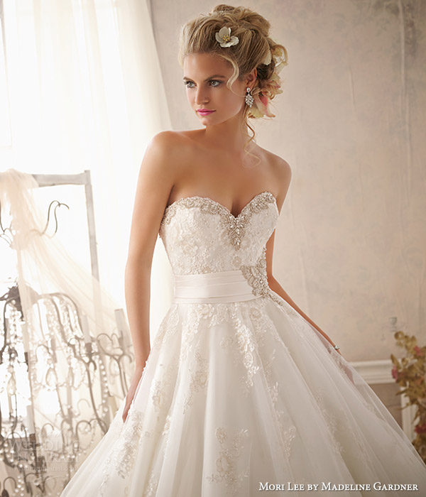 mori lee by madeline gardner wedding dresses spring 2014 strapless gown style 2614 embellished sweetheart neckline