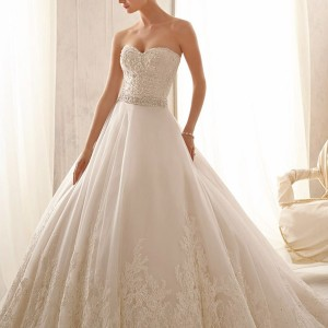 mori lee by madeline gardner wedding dresses spring 2014 strapless gown style 2621
