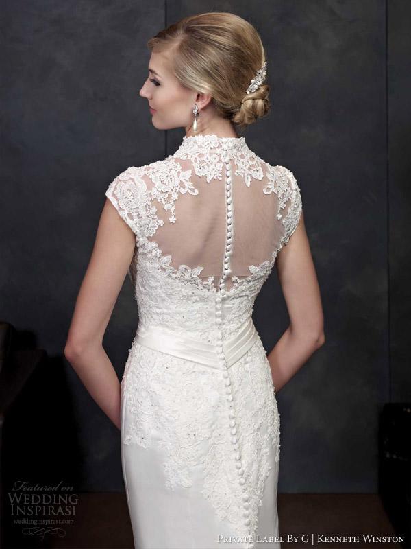 private label por g Kenneth Winston estilo primavera 2014 vestido de noiva manga cap 1540 ilusão de volta