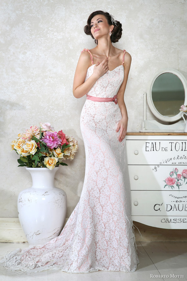 pink lace wedding dress roberto motti 2014 wedding dresses wedding inspirasi 6585
