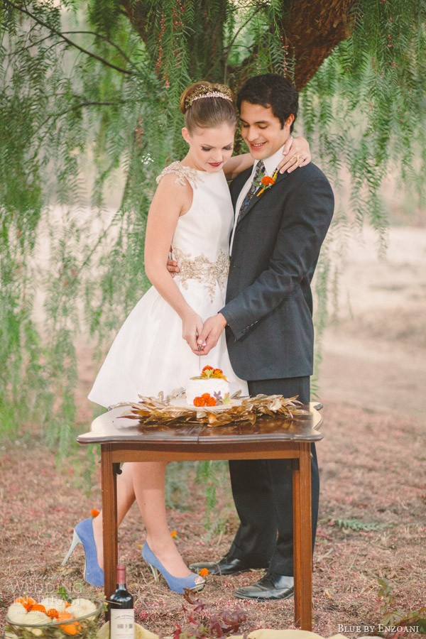 rustic fall themed retro bridal shoot featuring gage teacup wedding dress