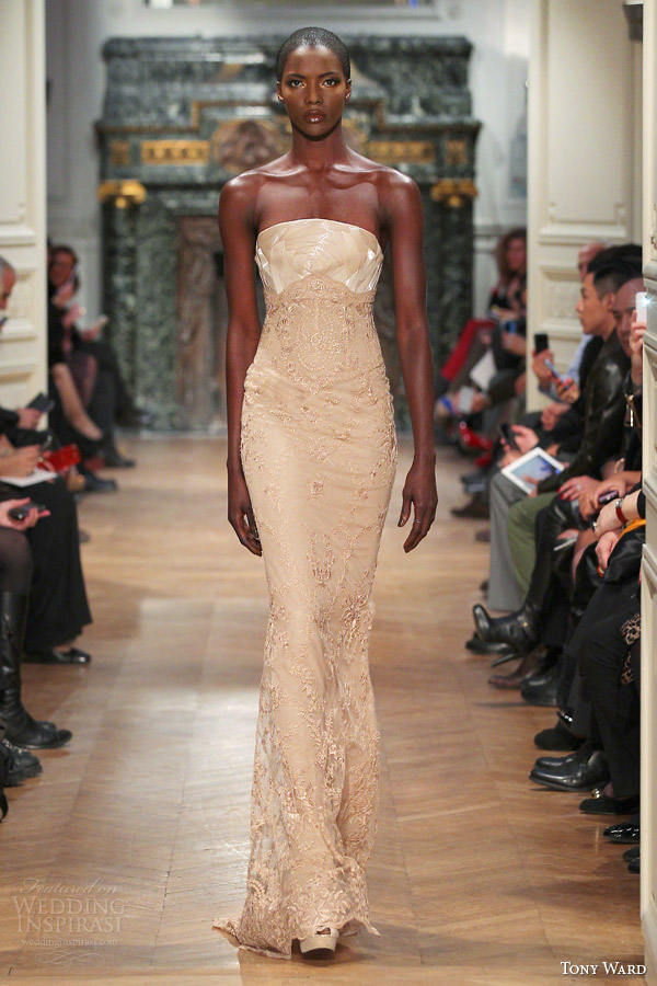 tony ward couture 2014 strapless lace gown