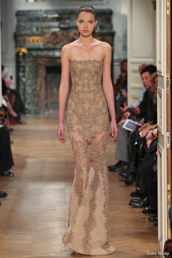 primavera costura ala tony 2014 vestido strapless Coleção