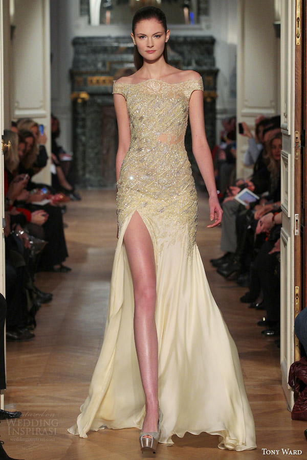tony ward couture spring 2014 pale yellow gown off shoulder sleeves