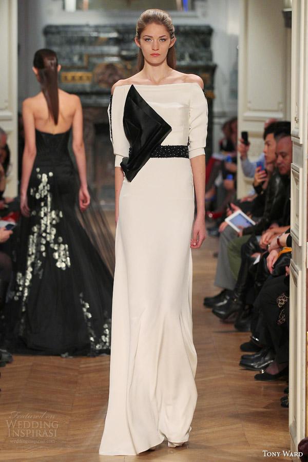 ala tony primavera 2014 costura vestido Ombro off preto branco