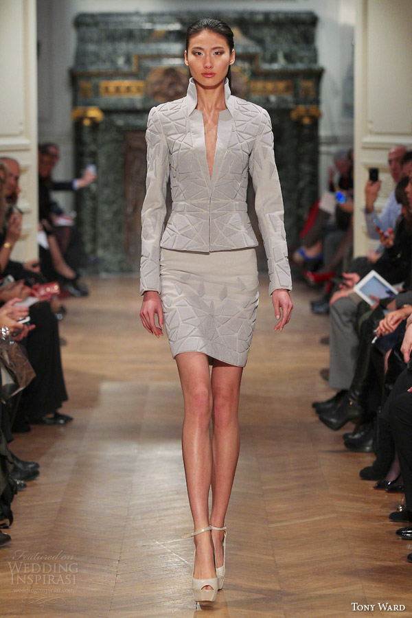 tony ward spring 2014 couture jacket skirt embossed 3d patterns
