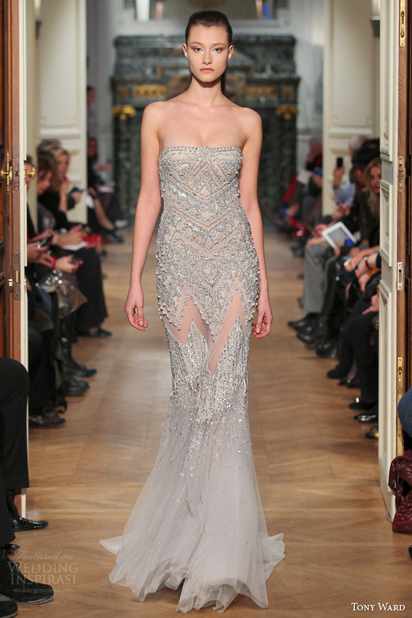 tony ward spring 2014 couture strapless beaded gown