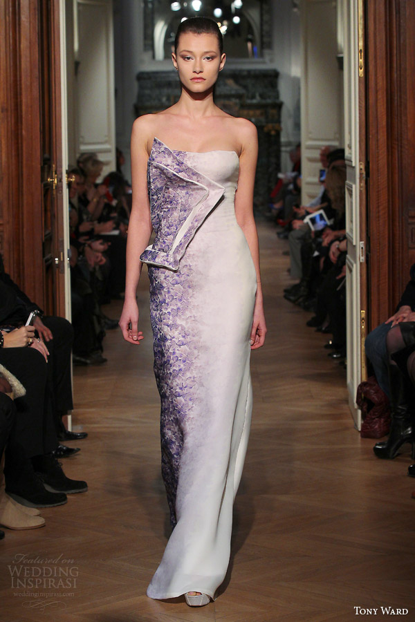 tony ward spring 2014 couture strapless dress painted flowers