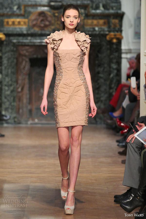 Primavera tony ala Verão de 2014 costura vestido Curto sotaque origami