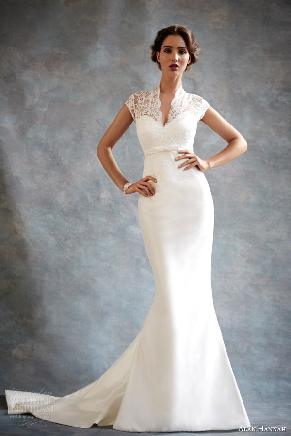 Alan Hannah 2014 Bridal Estelle Cap Sleeve Wedding Dress
