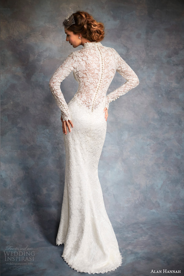 alan hannah bridal 2014 bacall wedding dress long sleeve illusion back