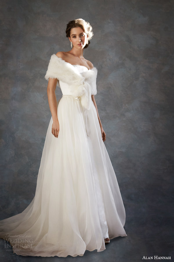 alan hannah wedding dresses 2014 dolores gown removable overskirt fur wrap