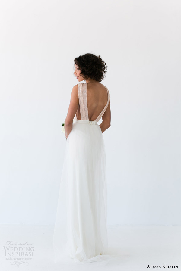 alyssa kristin wedding dresses 2014 collette gown back view