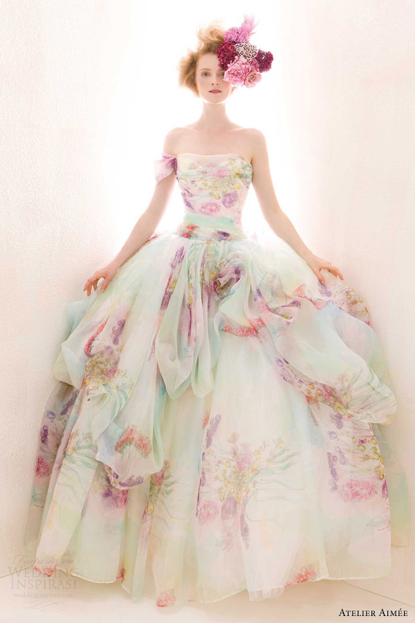 the gallery for gt colored floral wedding dress With floral wedding dresses with color