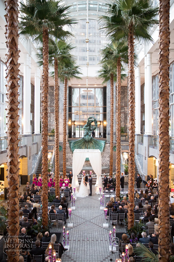 Chicago City Fall Wedding Inspiration Pink Fuchsia Palm Trees Indoor Reception At Pazzos