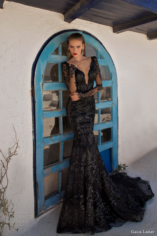 galia lahav couture 2014 moonstruck saturn evening gown black wedding dress long sleeves