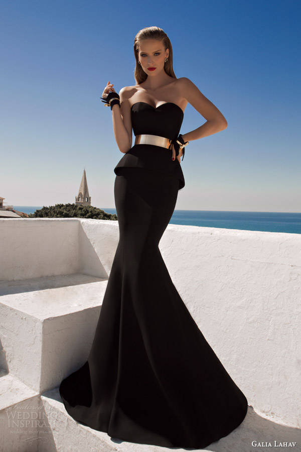 galia lahav couture 2014 moonstruck shalimar strapless evening gown black wedding dress