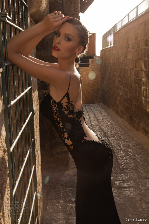 galia lahav couture 2014 saphron evening gown black wedding dress side view
