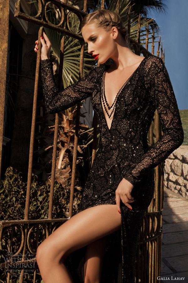 galia lahav haute couture 2014 moonstruck jupiter black evening gown long sleeves close up bodice