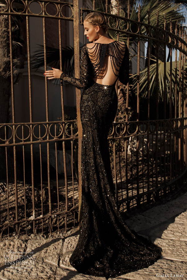 galia lahav haute couture 2014 moonstruck jupiter black evening gown long sleeves