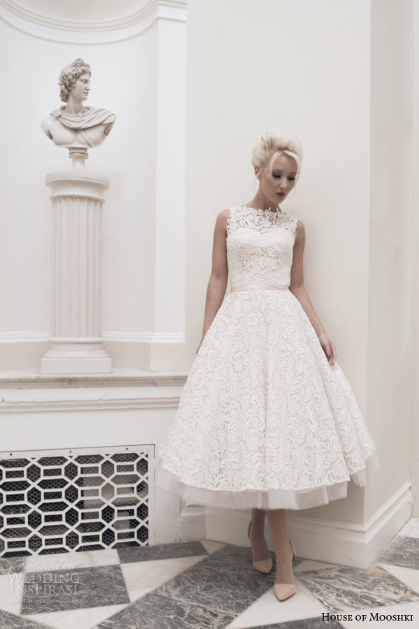 House Of Mooshki Bridal Autumn 2017 Dara Sleeveless Blush Calf Length Wedding Dress