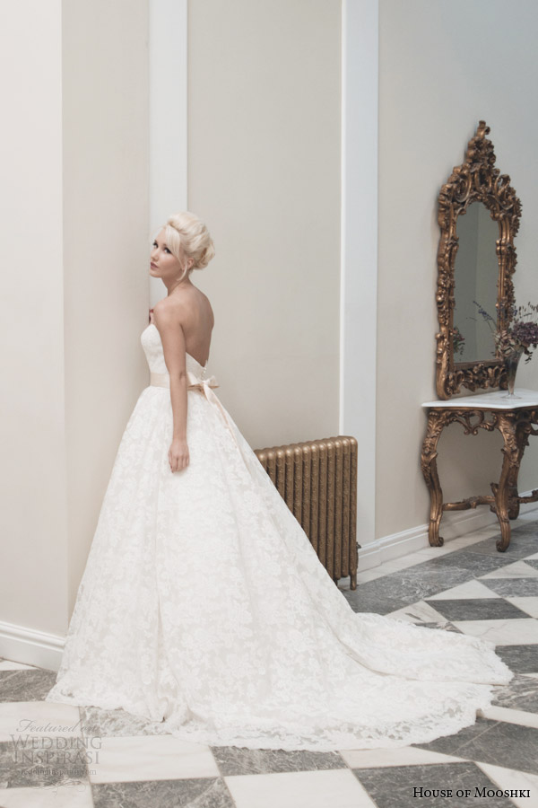 house of mooshki bridal autumn 2014 veronica strapless french corded lace ball gown