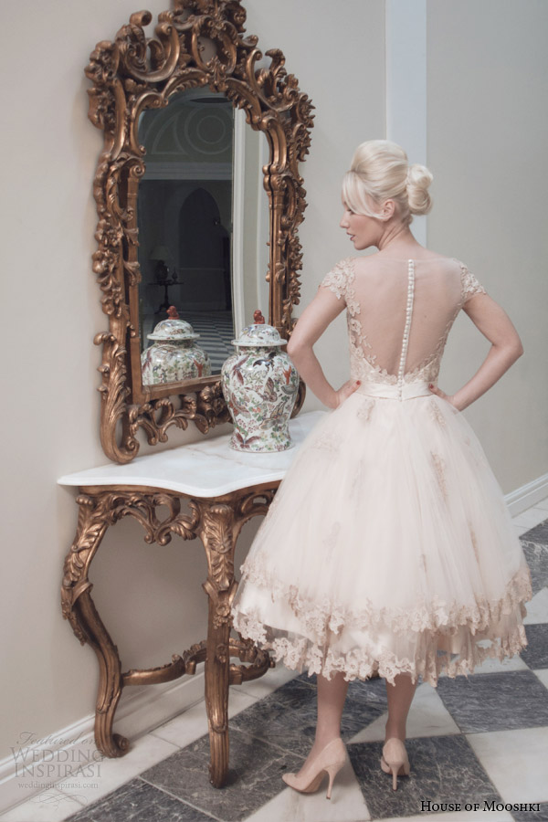 house of mooshki bridal fall 2014 evie champaagne tulle tea length wedding dress illusion back view