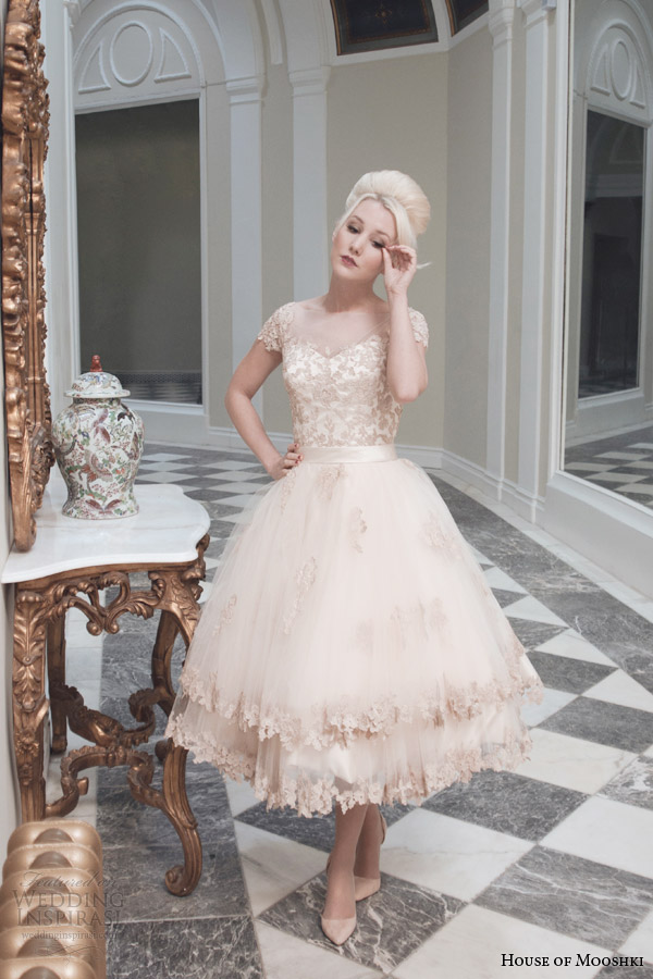 house of mooshki bridal fall 2014 evie champaagne tulle tea length wedding dress