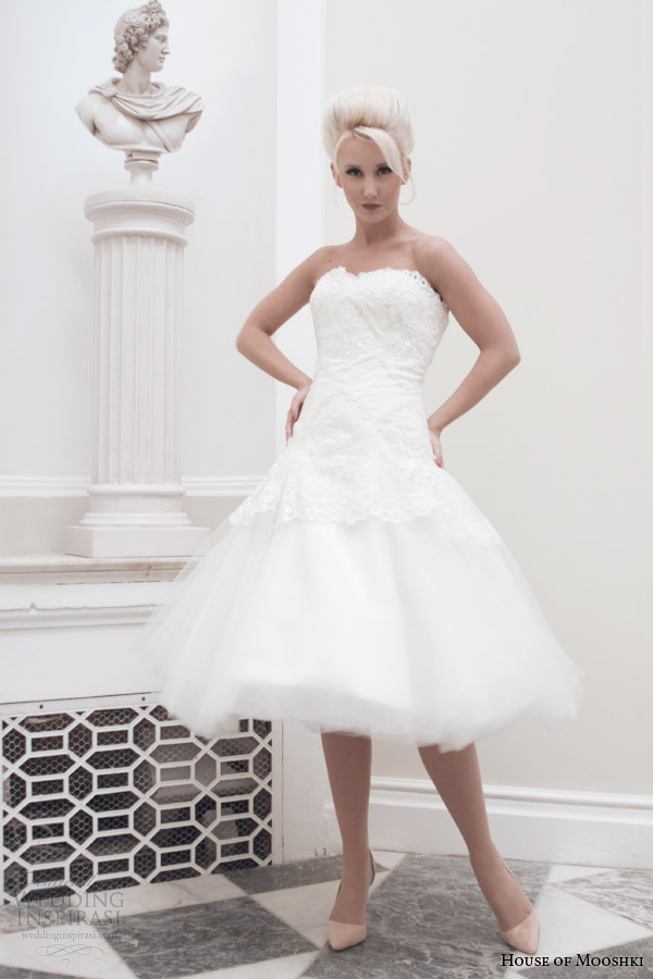 house of mooshki fall 2014 bridal lucy strapless tea length wedding dress